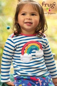 Frugi Blue Stripe Rainbow Organic Long Sleeve Top