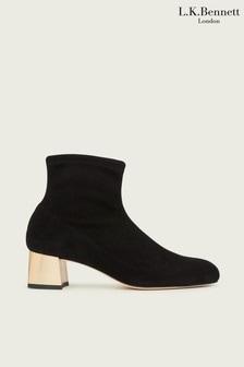 L.K.Bennett Black Gold Grace Block Heel Boots