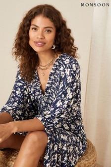 Monsoon Blue Floral Print Shirred Jersey Dress