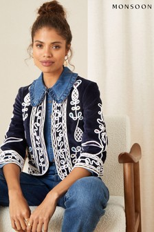 Monsoon Blue Embroidered Velvet Jacket