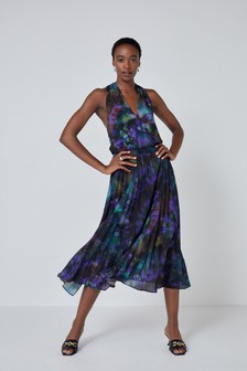 Black Tie-Dye V-Neck Pleated Halter Dress