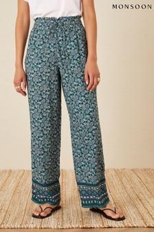 Monsoon Blue Rita Printed Wide Leg Trousers