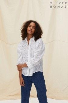 Oliver Bonas Ivory Broderie Detail Long Sleeve Shirt