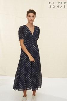 Oliver Bonas Blue Sparkle Jacquard Spot Tiered Maxi Dress