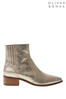 Oliver Bonas Metallic Gold Leather Western Ankle Boots