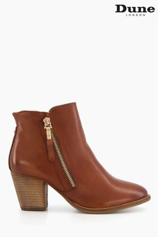 Dune London Brown Paice Zip Up Ankle Boot