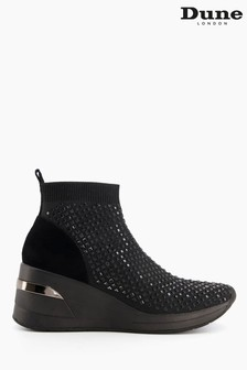 Dune London Black Envy Embellished Knitted Trainers