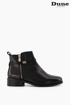 Dune London Black Pap Buckle Trim Ankle Boots