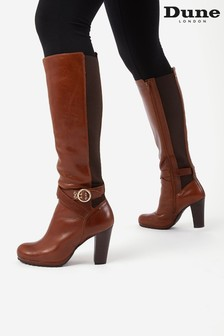 Dune London Brown Sabrena Elasticated Buckle Boots