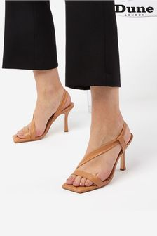 Dune London Brown Marbled Square Toe Heeled Slingback Sandals