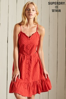 Superdry Red Broderie Mini Dress