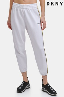 DKNY White Irving High-Waisted Tape Joggers