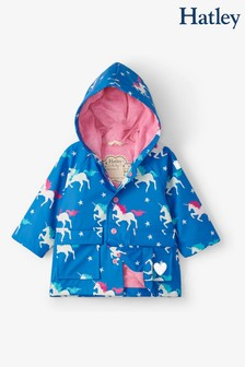 Hatley Blue Twinkle Unicorns Colour Changing Baby Raincoat