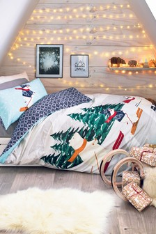 Ski Scene Reversible Duvet Cover And Pillowcase Set