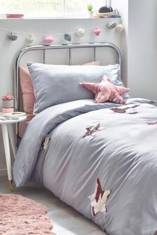 Sequin Swoosh Stars Duvet Cover and Pillowcase Set