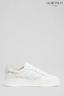 L.K.Bennet White Campbell Quilted Trainers