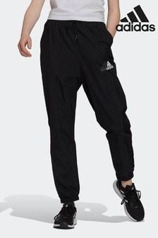 adidas Black Brand Love Repeat Logo High-Waist Woven Tracksuit Bottoms