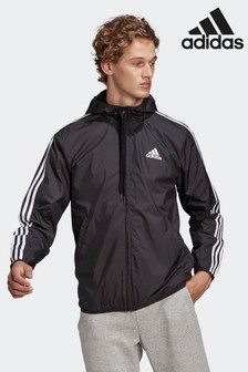 adidas Black Primegreen Essentials 3-Stripes Windbreaker Jacket