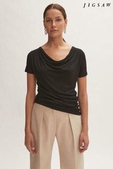 Jigsaw Black Cowl Neck T-Shirt