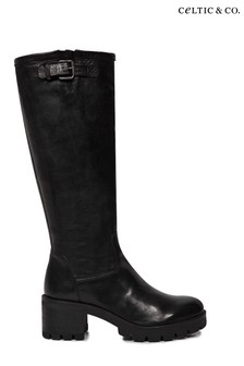 Celtic & Co. Womens Black Biker Knee Boots
