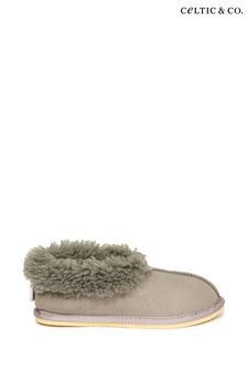 Celtic & Co. Ladies Grey Sheepskin Bootee Slippers