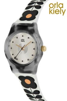 Orla Kiely Baby Bobby Cream With Black Printed Strap Flower Print Watch