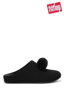 FitFlop Black Chrissie Pom Pom Felt Slippers