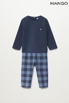 Mango Blue Cotton Long Pyjamas