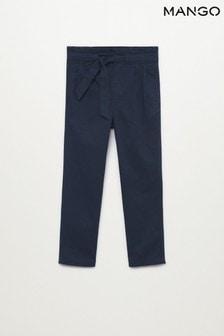 Mango Blue Tie Darts Trousers