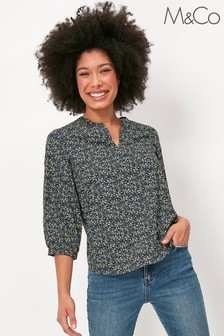M&Co Green Ditsy Print Overhead Top