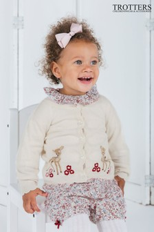 Trotters London White Fawn Cardigan