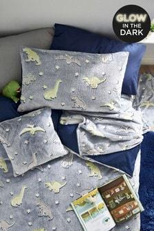 Glow In The Dark Fleece Dinosaur Duvet Cover And Pillowcase Set