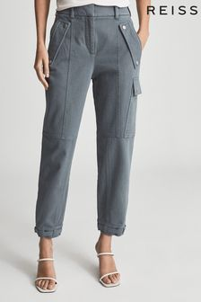 Reiss Blue Tate Cotton Blend Cargo Trousers