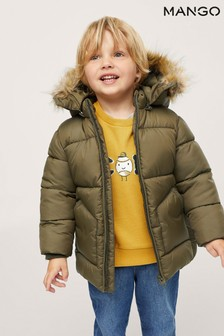 Mango Green Faux-Fur Hood Coat