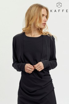 Kaffe Womens Black Astrid Bolero Long Sleeve Regular Fit Cardigan