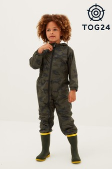 Tog24 Green Chiserley Kids Fleece Lined Rain & Snowsuit