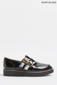 River Island Black Mary Jane Flat Shoes