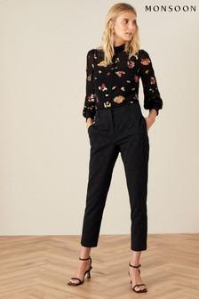 Monsoon Black Josie Jacquard Trousers