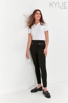 Kylie Teen Zip Black Trousers