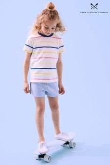 Crew Clothing Company Blue Plain & Stripe Short Sleeve T-Shirts 2 Pack