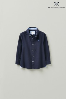 Crew Clothing Company Older Boys Blue Longsleeve Navy Oxford Shirt