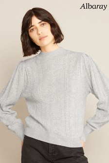 Albaray Womens Grey Cable Jumper