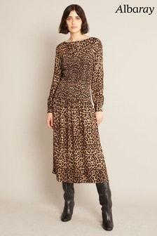 Albaray Womens Animal Shirred Bodice Dress