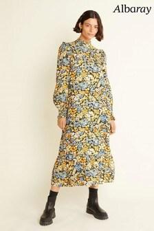 Albaray Womens Blue Atumn Floral Frill Yoke Midi Dress