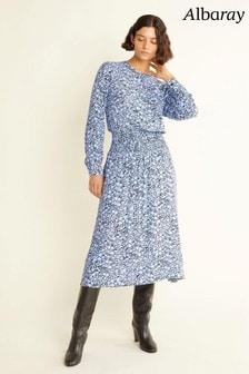 Albaray Womens Blue Floral Scarf Midi Dress