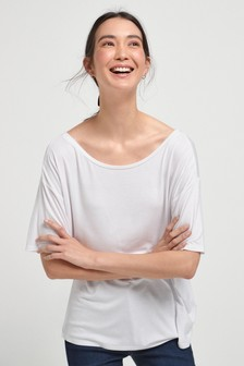 White Solid Oversized T-Shirt