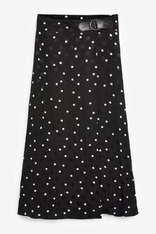 Black/White Wrap Spot Skirt