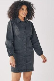 Washed Black Fuller Bust Long Sleeve Fitted Denim Dress