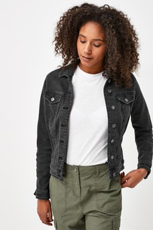Washed Black Fuller Bust Denim Jacket
