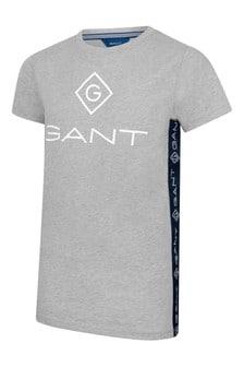 Boys Grey Cotton Logo T-Shirt
